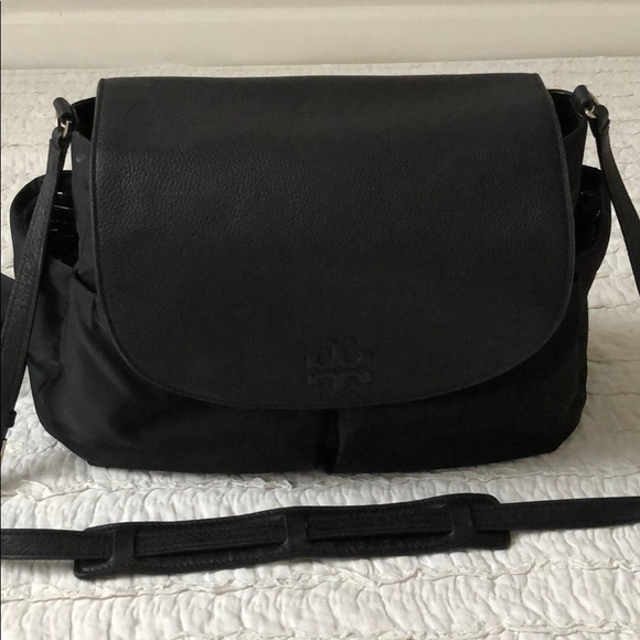 1bbcac614e5d Tory Burch black leather diaper bag. M 5adcf7efcaab441893d8aa5f